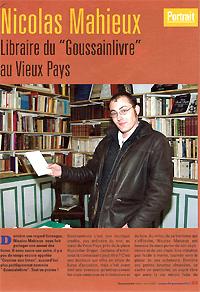 Goussainville infos 2003 : Nicolas Mahieu, libraire du goussainlivres au Vieux-Pays